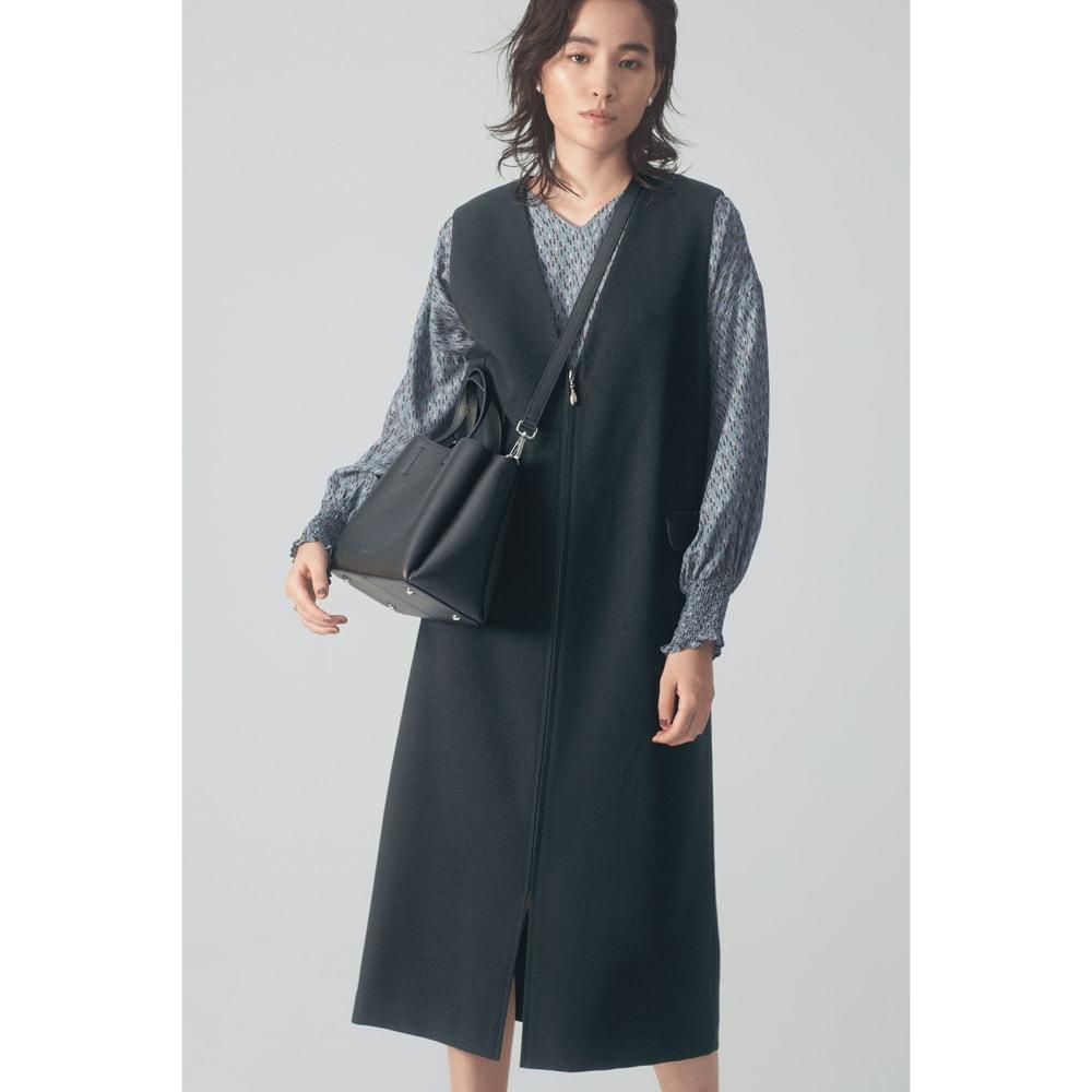 ロングジレ ジャンパースカート コーディネート例