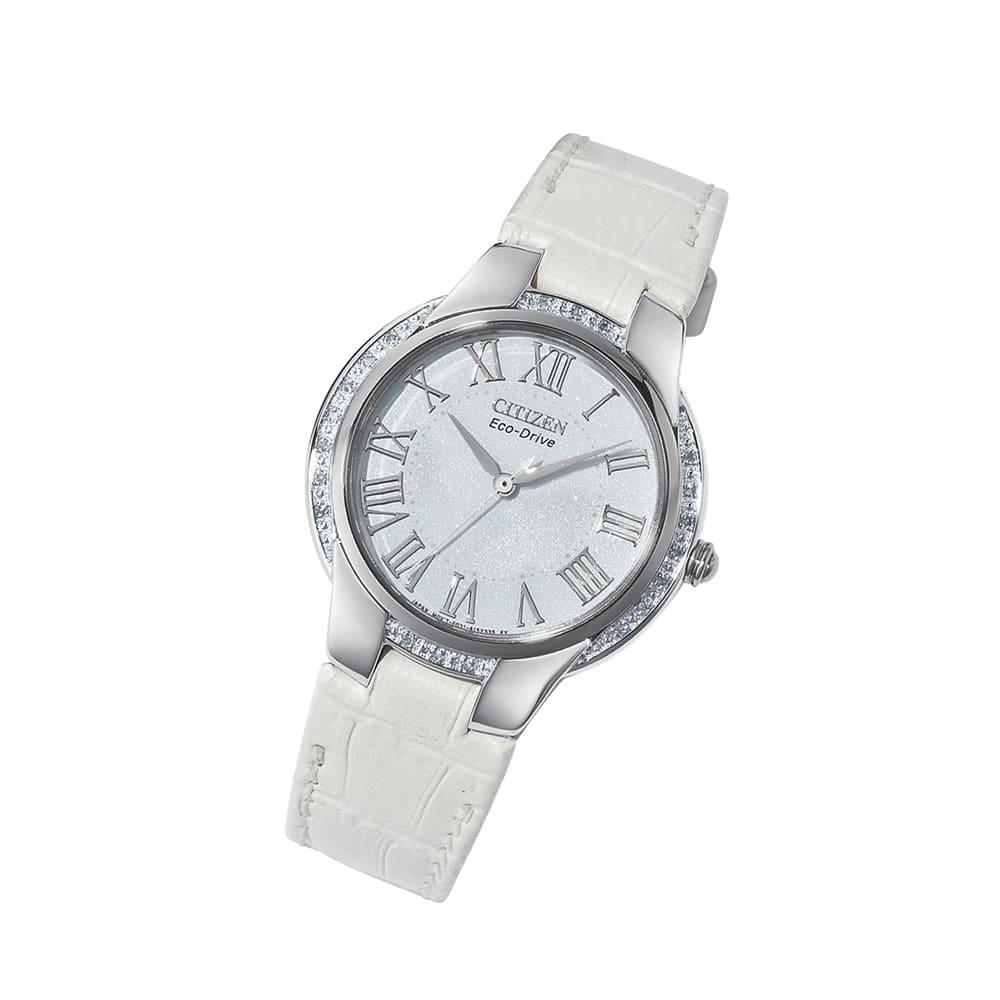 CITIZEN/シチズン エコ・ドライブ ダイヤレザーウォッチ レディース ホワイト/ネイビ?/グレージュ レディース腕時計
