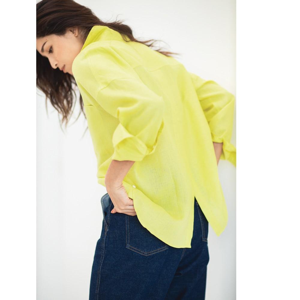 フレンチリネン 2ウェイシャツ Back Style コーディネート例