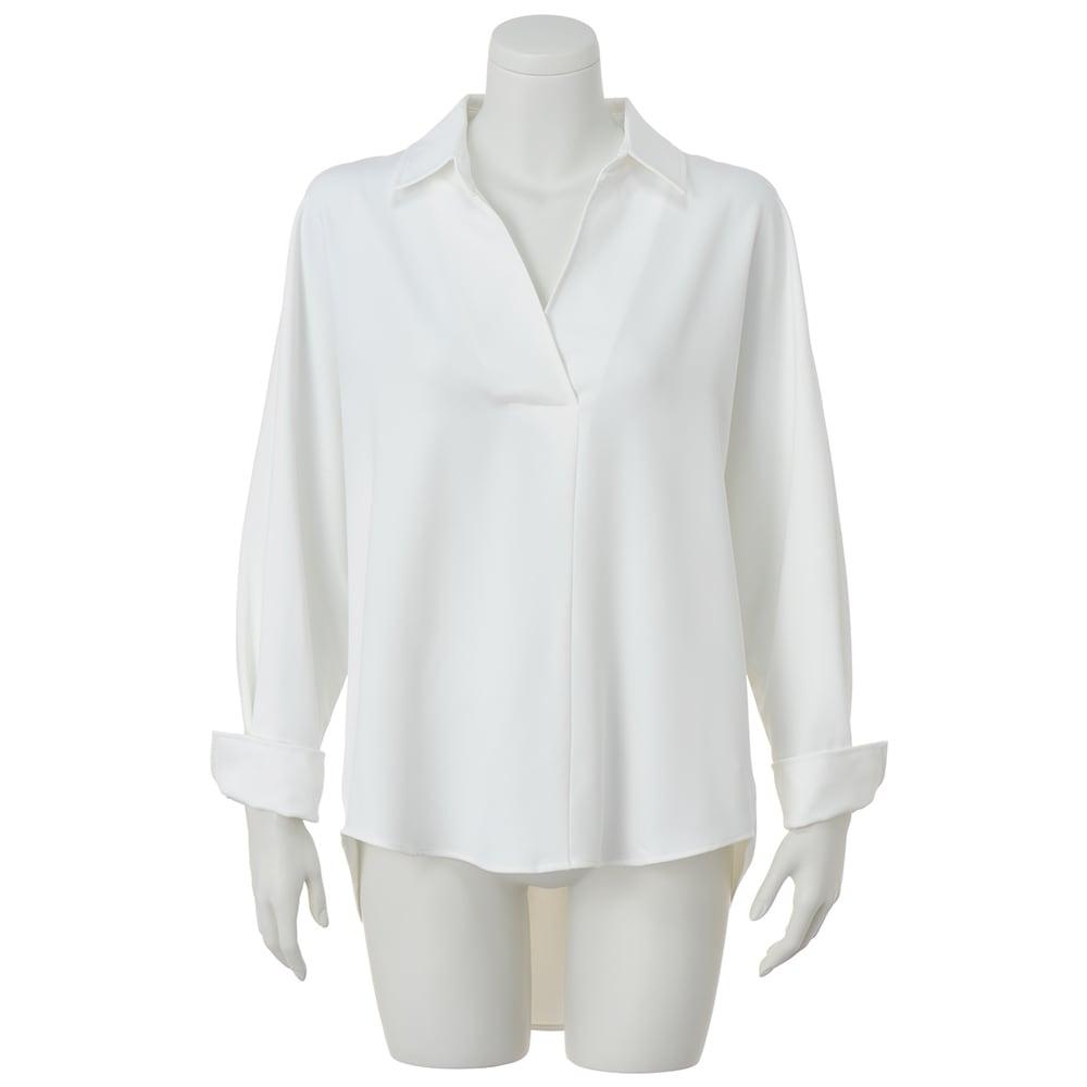 バック斜めタック入り スキッパーシャツ (ア)オフホワイト