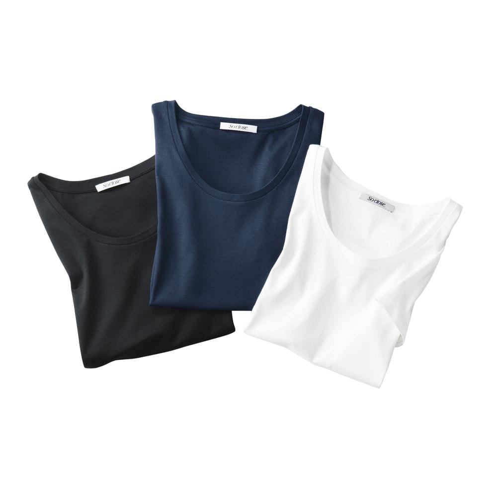 新 美デコルテ(R) プルオーバーシリーズ 半袖プルオーバー 左から(エ)ブラック (ウ)ネイビー (ア)オフホワイト
