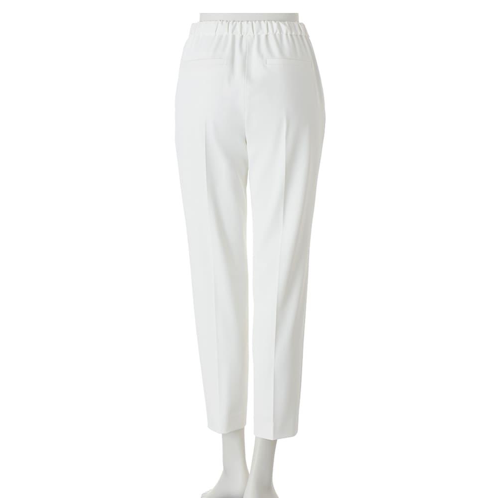 多機能素材 9分丈腰高パンツ (ア)オフホワイト