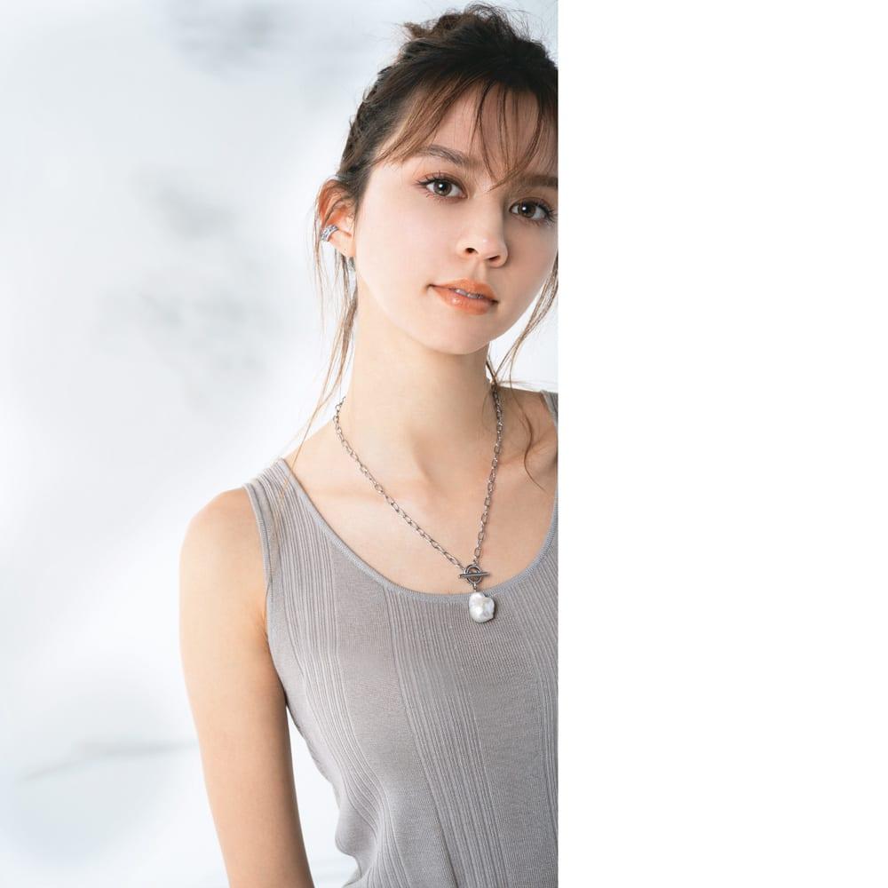 ABISTE/アビステ キュービックイヤーカフシリーズ(2点セット) キュービックイヤーカフ コーディネート例