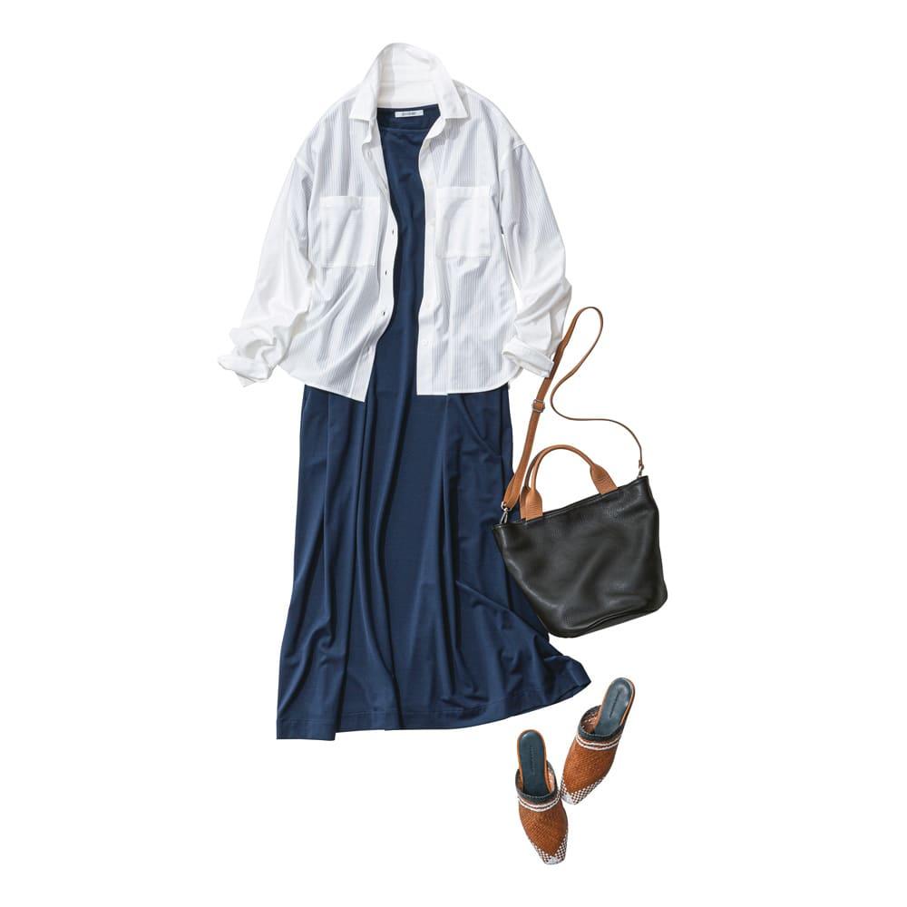 シャドーストライプ ジャージーシャツ コーディネート例
