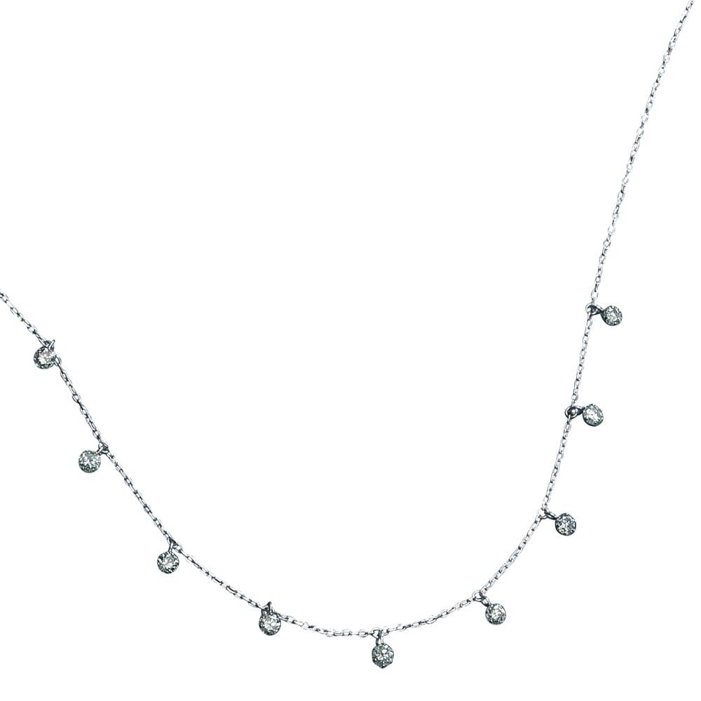 K18 ダイヤフリンジ ネックレス (イ)WG