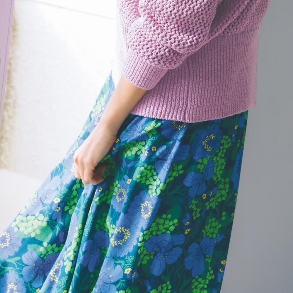 EMA BLUE'S/エマブルー 花柄フレアスカート(フランス製) コーディネート例