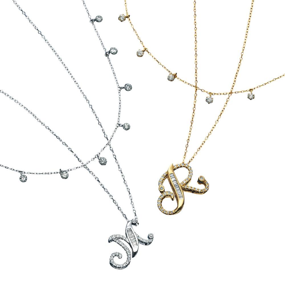 K18 バゲットダイヤ イニシャルペンダント レディース YG/WG A~Y ダイヤモンド