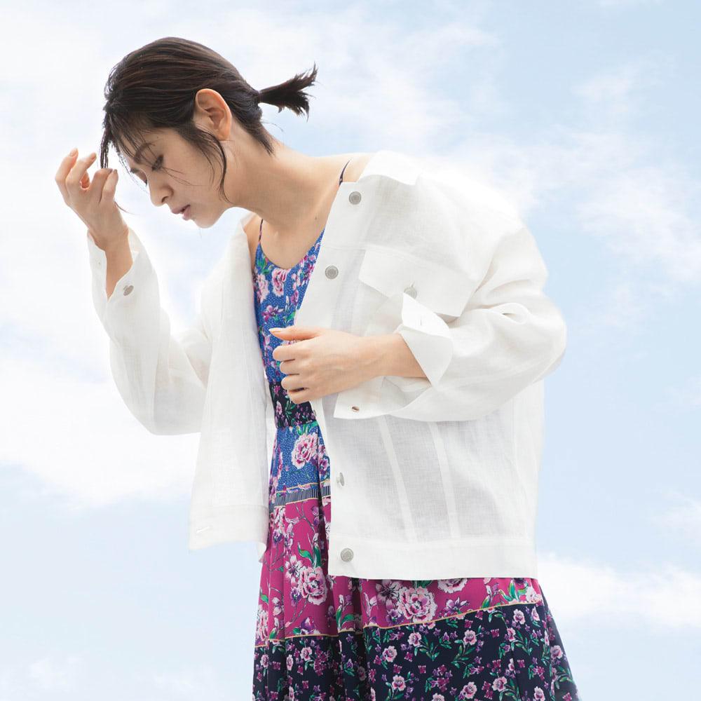YUMI/ユミ パッチワーク風プリント キャミワンピース コーディネート例