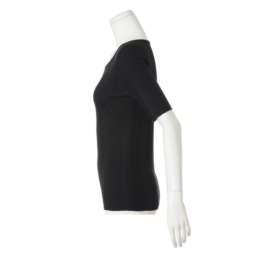 UVカット スパンシルク リブニットシリーズ 五分袖プルオーバー