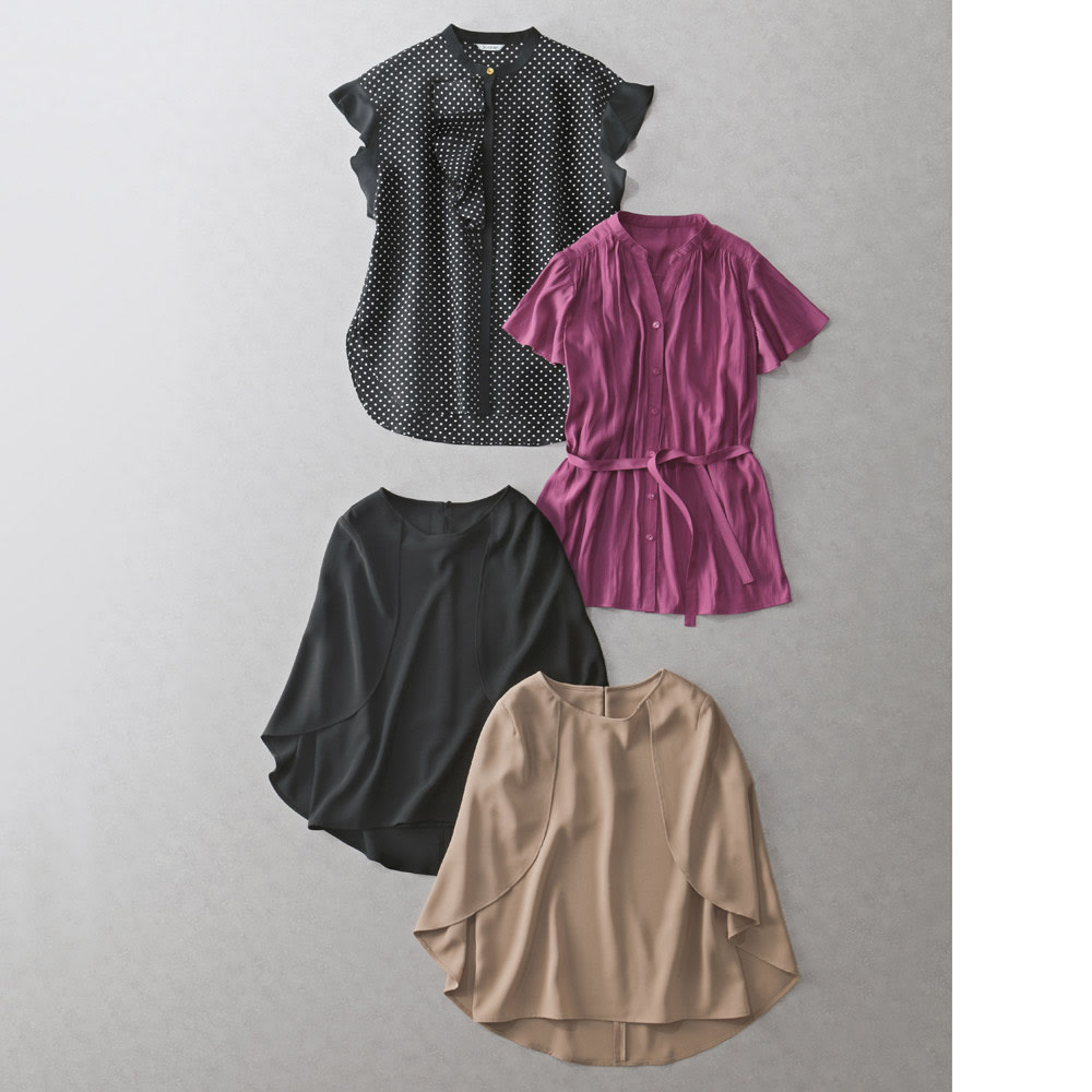 ドレープ デザインブラウス Tシャツ代わりにきれいめトップスを コーディネート例