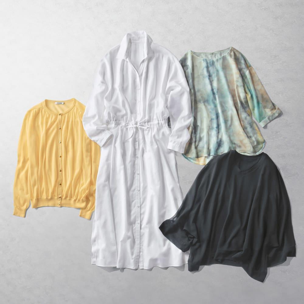 強撚コットン シアーシャツワンピース 軽やかで程よい透け感が涼しげでこなれた印象に導く コーディネート例