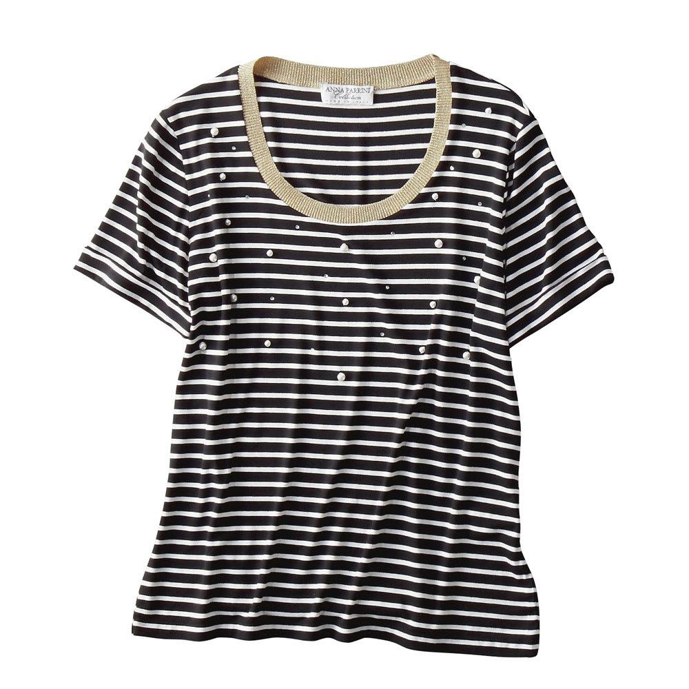 ANNA PARRINI/アンナ パリーニ パール付Tシャツ(イタリア製)