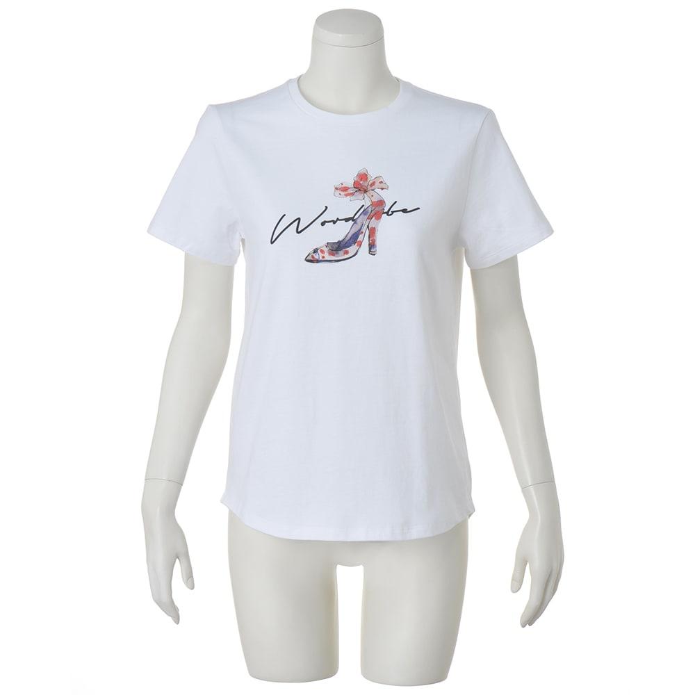 WORDROBE/ワードローブ パンプス柄 Tシャツ (ア)ホワイト