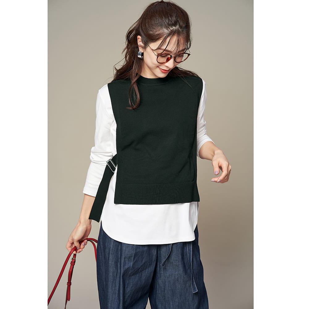 デオファクター(R) ふわもち綿スムース ロングTシャツ (ア)オフホワイト コーディネート例