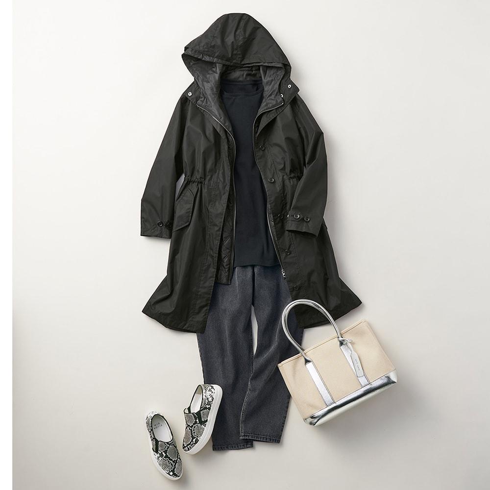 デオファクター(R) ふわもち綿スムース ロングTシャツ (ウ)ブラック コーディネート例