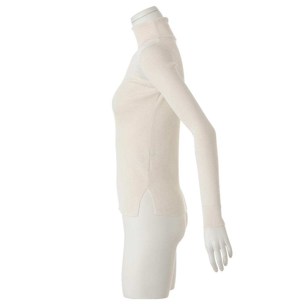 シルク100% リブタートル ニットプルオーバー (ア)オフホワイト
