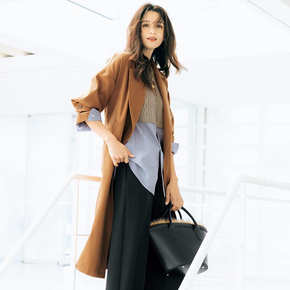 トレンチ風デザイン 着流し一重仕立てコート 着用例