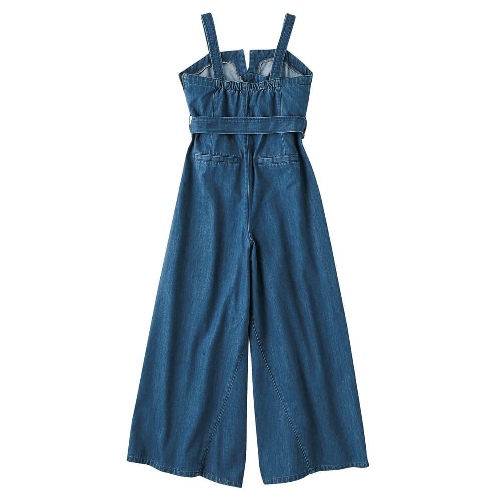 gram blue/グラムブルー 軽量デニム ベルト付きサロペット Back Style