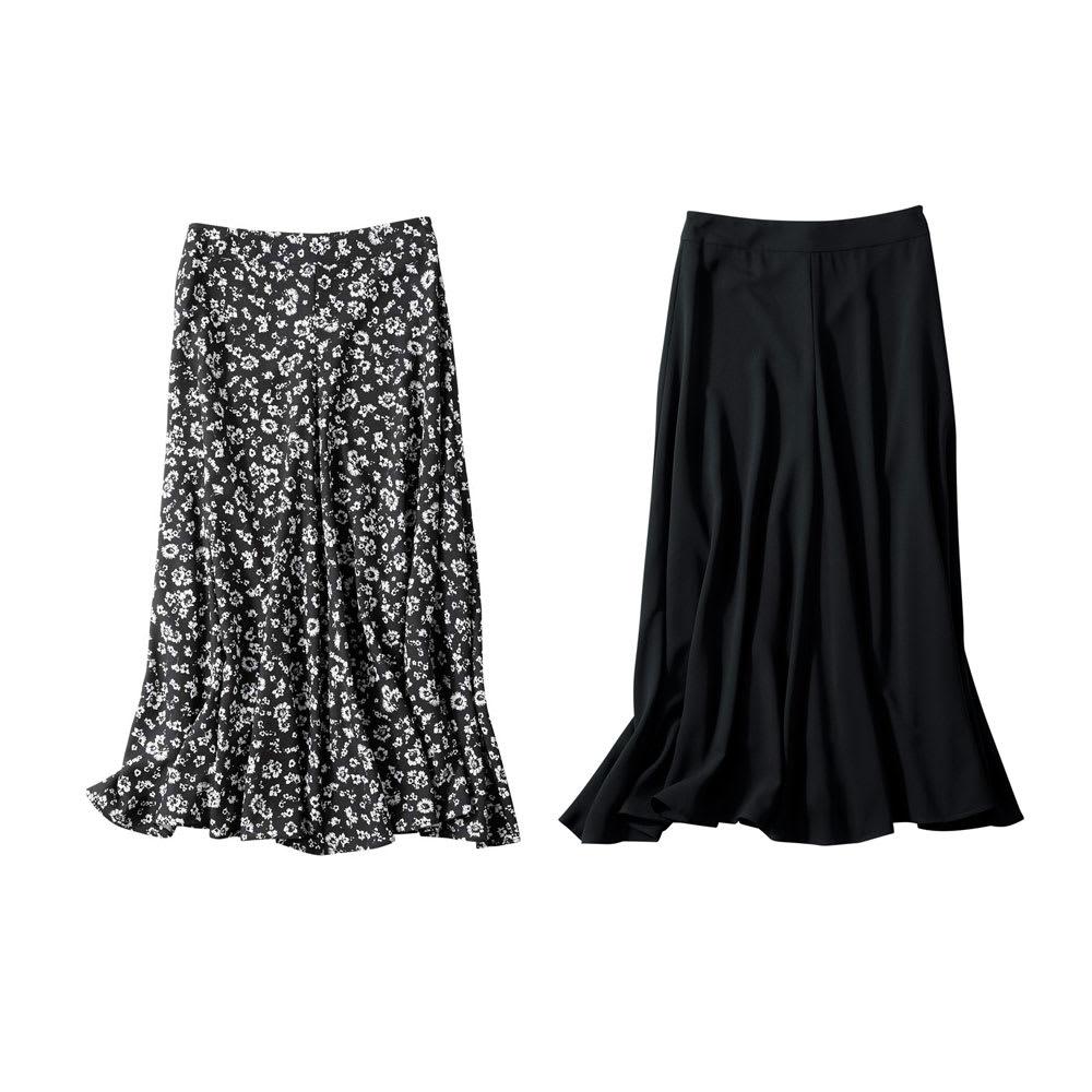 ナローフレアスカート 左から(ア)ブラック花柄 (イ)ブラック無地