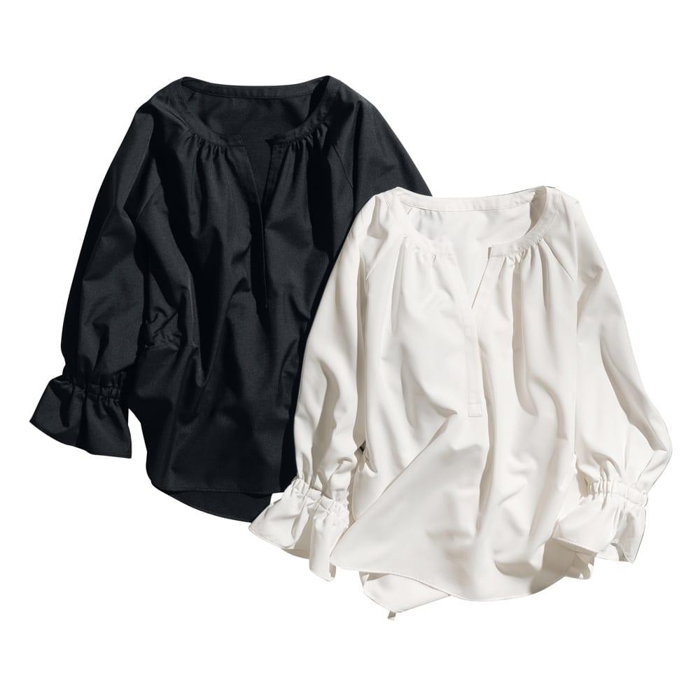 機能素材 シグマティ(R) バックデザイン スキッパーブラウス 左から(ア)ブラック (イ)オフホワイト