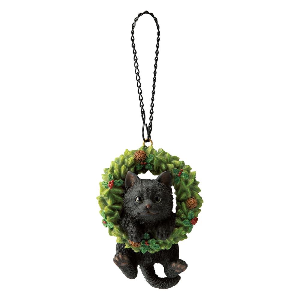 リースオーナメント 柄が選べる猫2匹組 (イ)黒猫