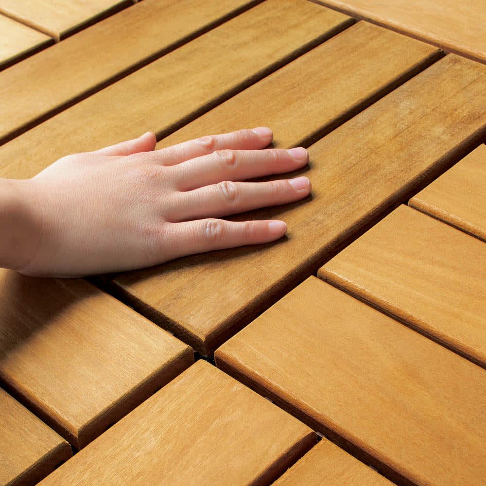 イタウバ天然木ジョイント式マット 12枚組 手ざわりなめらか
