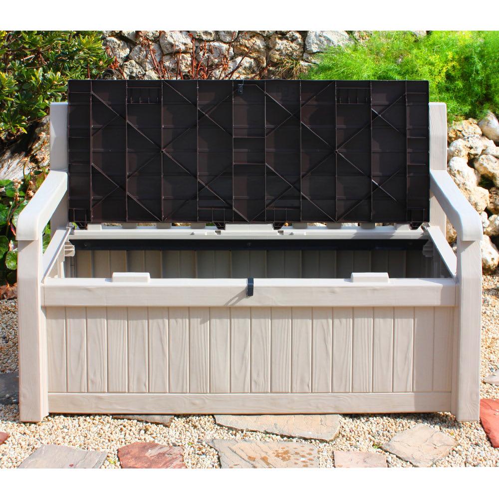 KETER社製ガーデン収納ベンチ 2人掛けできる座面下にはガーデン用品がたっぷり収納できます。