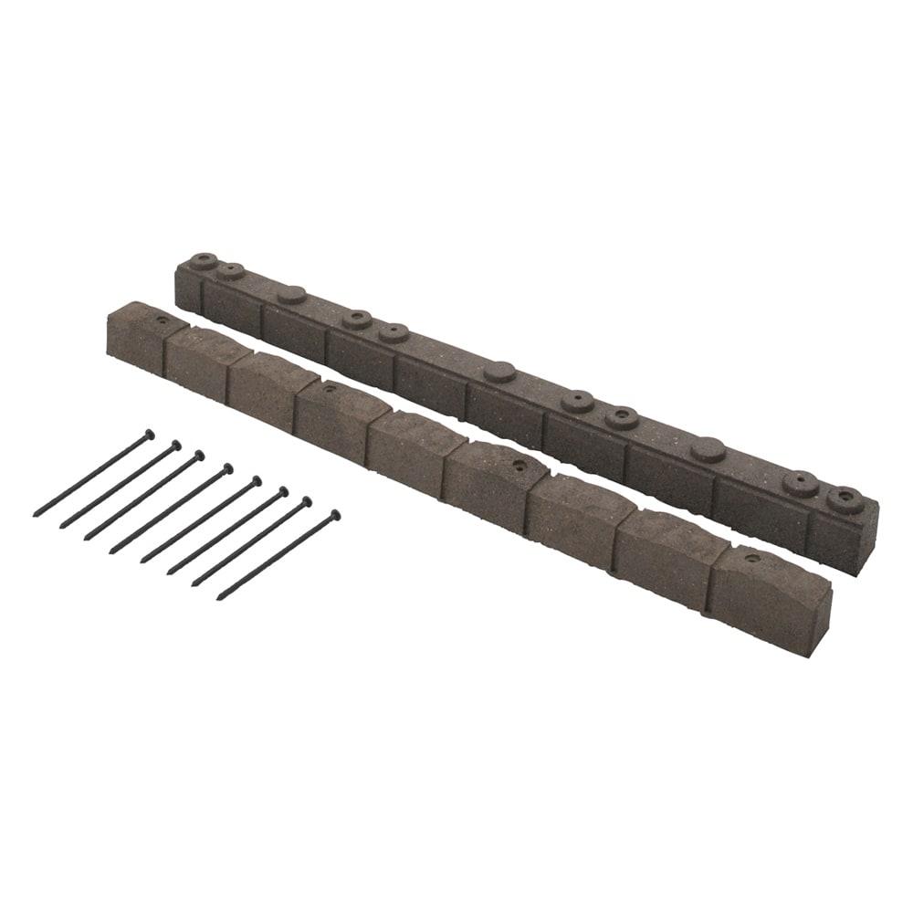 カナダ製ラバーエッジングシリーズ 2段(幅120cm×2個=240cm分) (ア)ブラウン 固定用ペグ8本付き