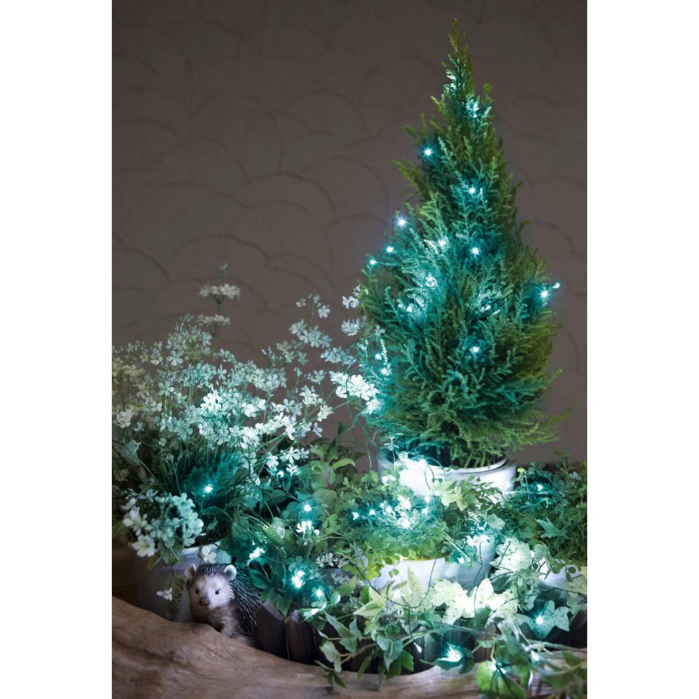 植栽になじむ!屋内外で使えるLEDクラスターライト アイスブルー