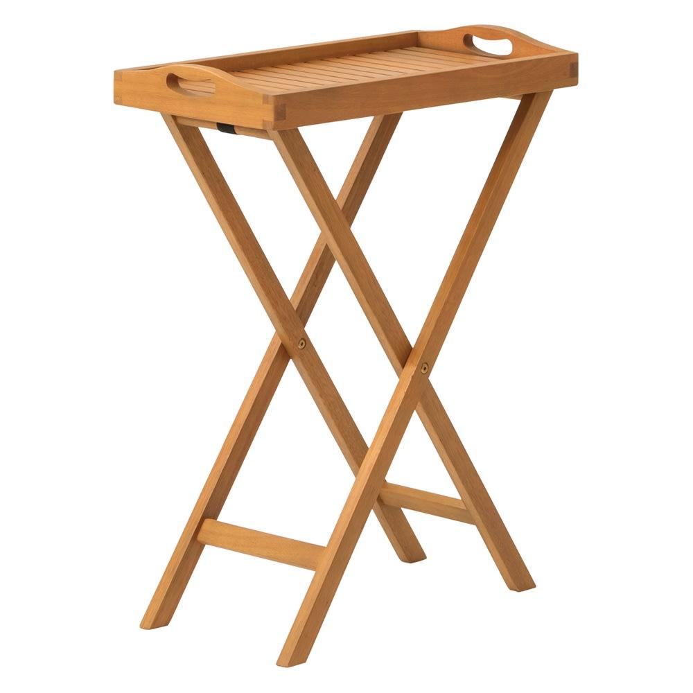 木製トレイ スタンド付き スタンドに乗せればサイドテーブルに。スタンドは折り畳み収納が可能です。