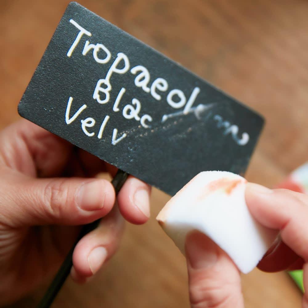 プランツネームプレート8本組 金属に書けるタイプのマーカーやチョークで記入し、メラミンスポンジで簡単に消せます。(※)