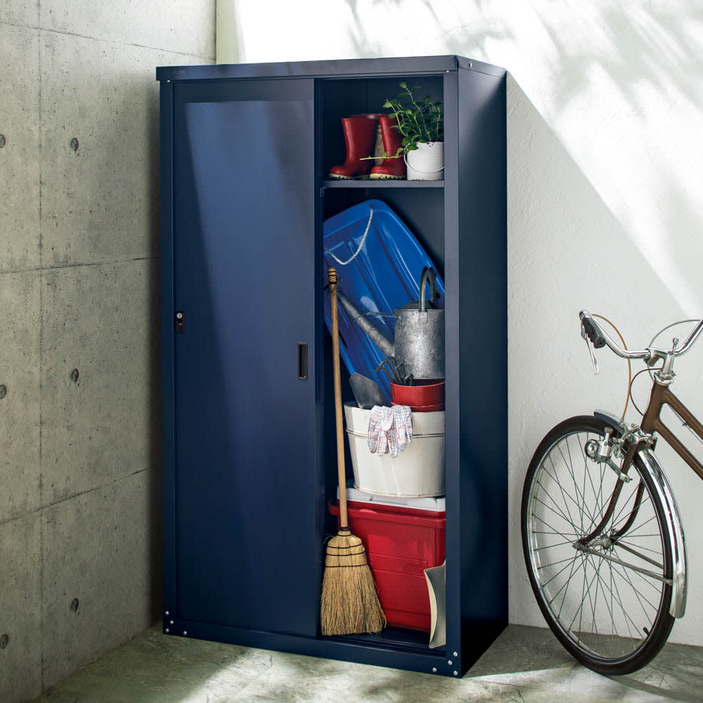 引き戸物置 吉谷さんコラボカラー・グレージュ レギュラーハイ 写真とお届けの色は異なります。お届けはグレージュになります。