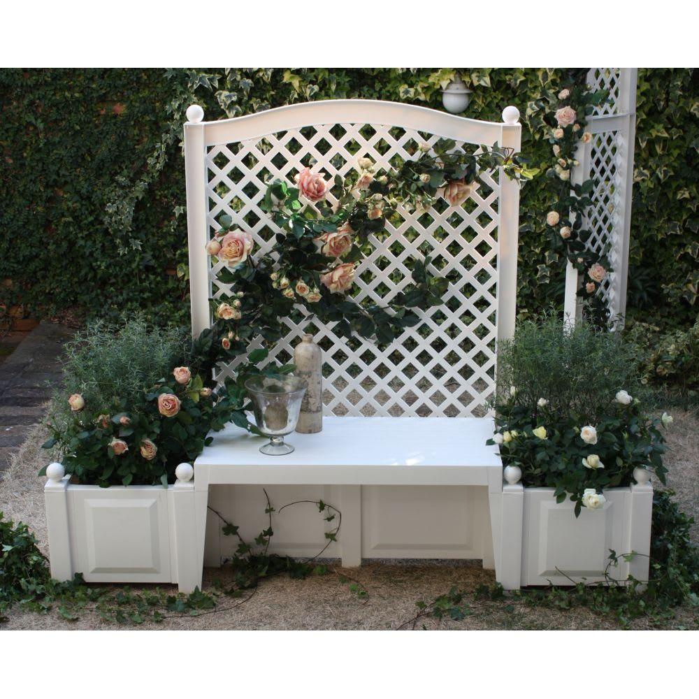 ドイツKHW社製 トレリス&プランターベンチ 白いトレリスに薔薇が映えます。