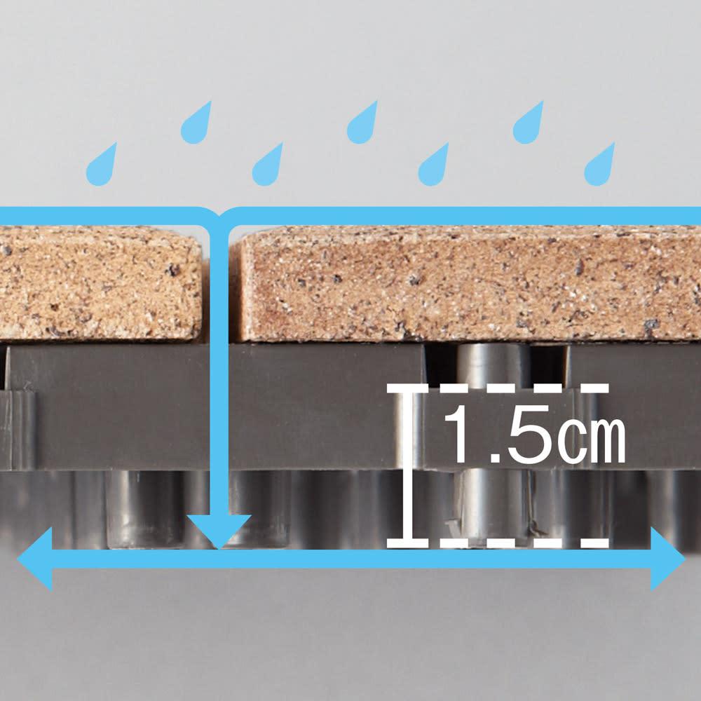 TOTO汚れにくいベランダマット お得な同色30枚組 表面材の下は、1.5cmの高さを持つ足高構造。水がスムーズに流れ、簡単なお手入れで清潔さを保てます。