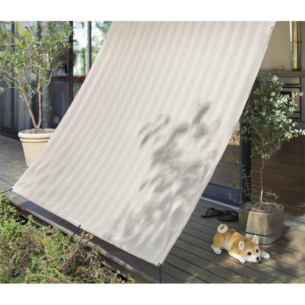 遮熱サンシェード ストライプ 180×180cm (エ)ベージュ ※お届けは180×180タイプです。
