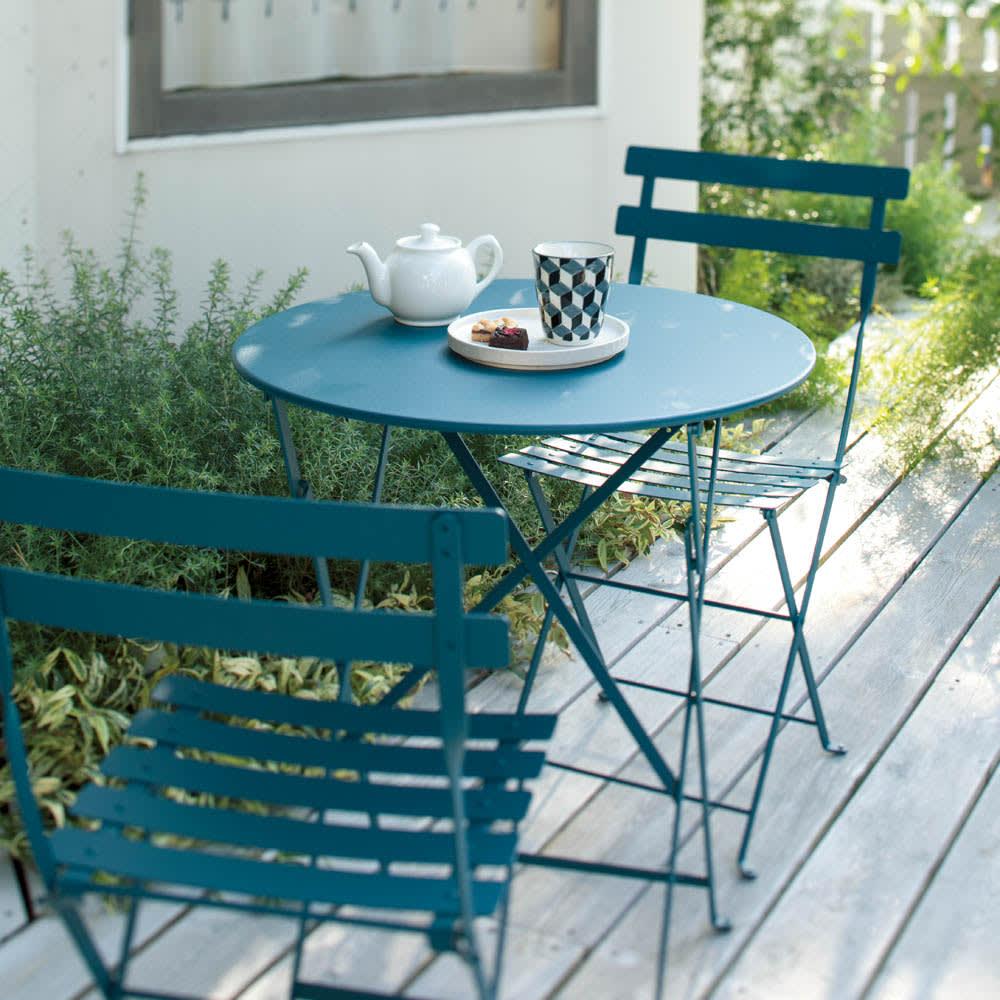 フランス製ビストロテーブル&チェア ビストロチェア2脚組 アカプルコブルー