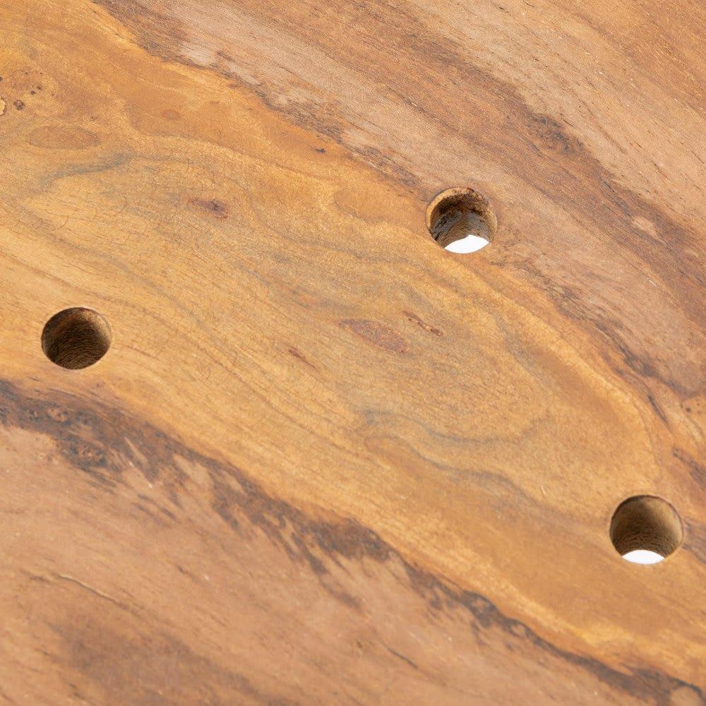 チーク根っこ材3点セット スツールは水抜き穴付き。