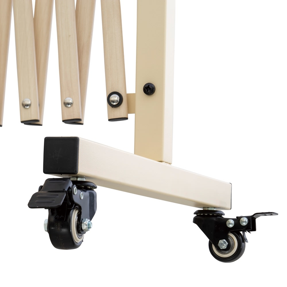 木目調アコーディオンフェンス 幅250 (ア)アイボリー 幅540タイプはストッパー付きのキャスターで使うシーンに合わせて伸縮・固定できます。