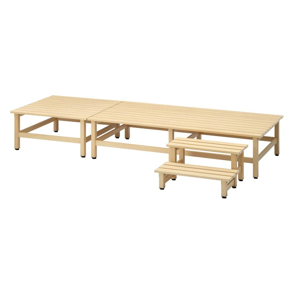 木目調アルミデッキ縁台&ステップ お得なセット 0.75坪セット (ア)アイボリー 0.75坪セット(デッキ180×90cm+デッキ90×90cm+踏み台ステップ) お届けの商品です。