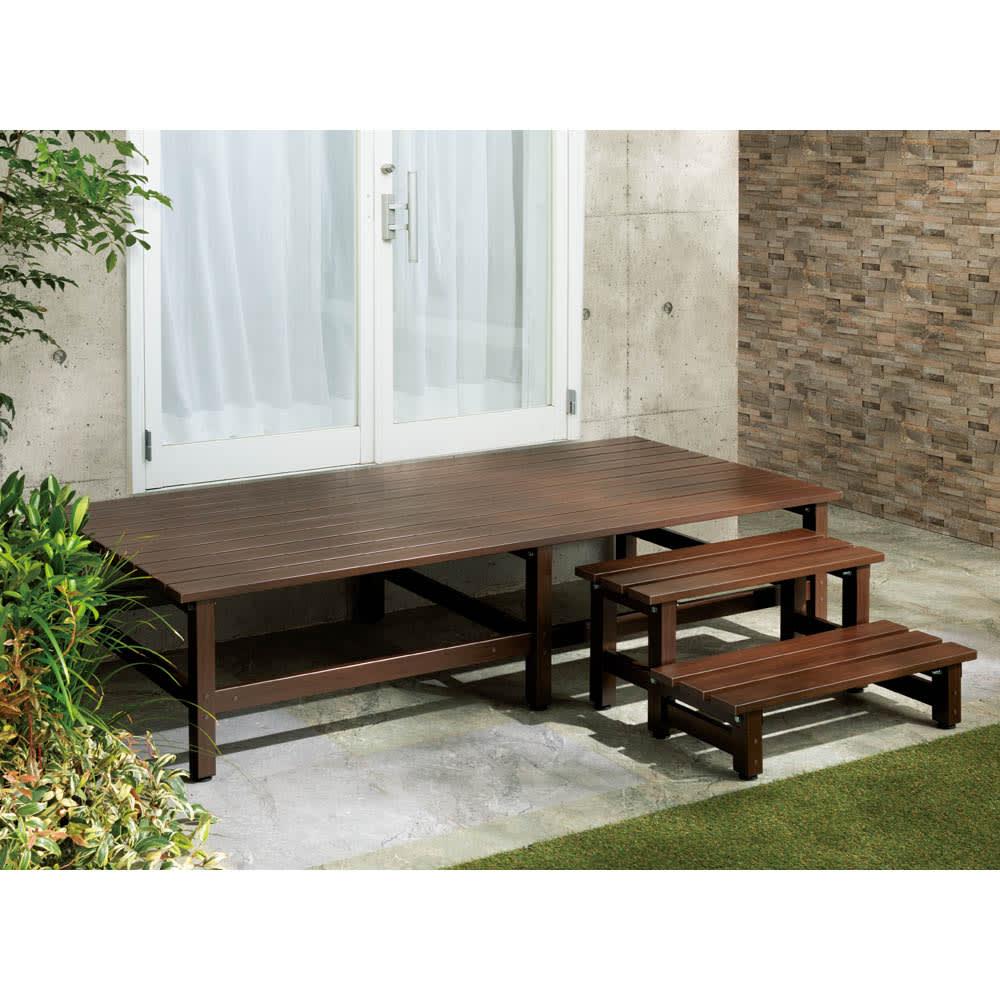 木目調アルミデッキ縁台 単品 デッキ90×90cm (ウ)ダークブラウン 和モダンのお庭に合うシックなダークブラウン。※お届けの商品とサイズが異なります。