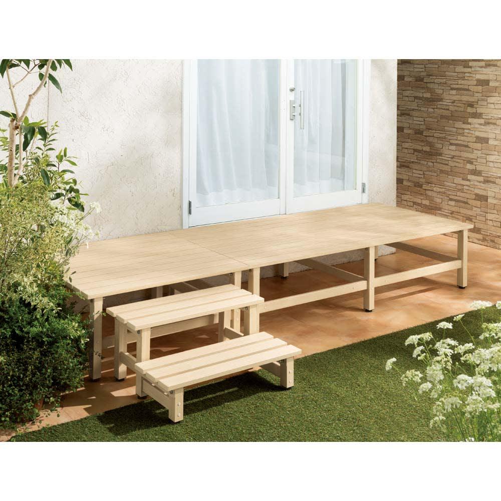 木目調アルミデッキ縁台 単品 デッキ90×90cm (ア)アイボリー フレンチ風の明るいお庭に映えるアイボリー。※デッキ90×90cm+デッキ180×90cm(別売)+踏み台(別売)の組み合わせ使用例。