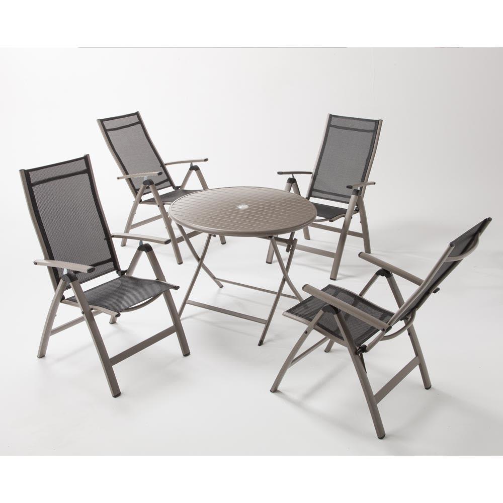 アーバンガーデン テーブル&チェア ラウンド 大 5点セット お届けは、ラウンドテーブル+チェア4脚の5点セットです。