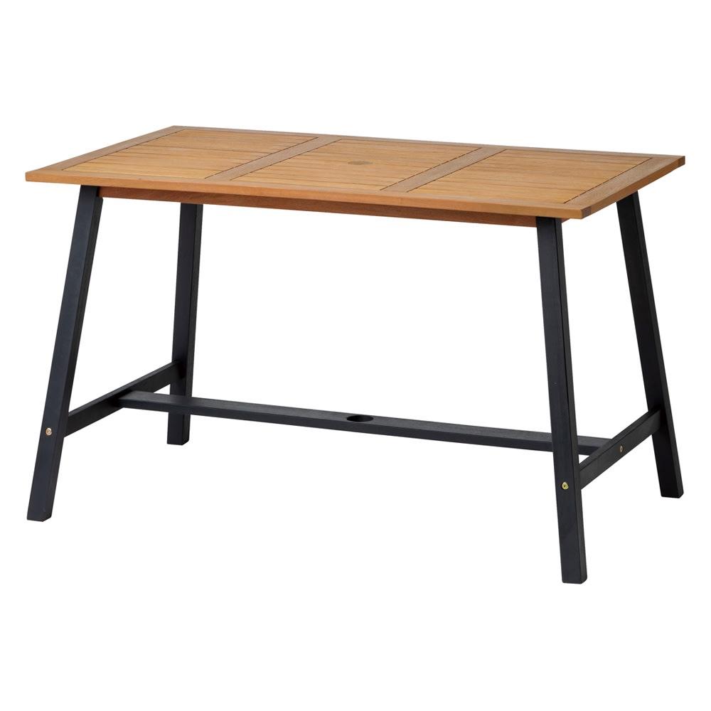 ユーカリテーブル&チェア 長方形4点セット(ダイニングテーブル長方形+ベンチ+チェア×2) (イ)ナチュラル×ブラック