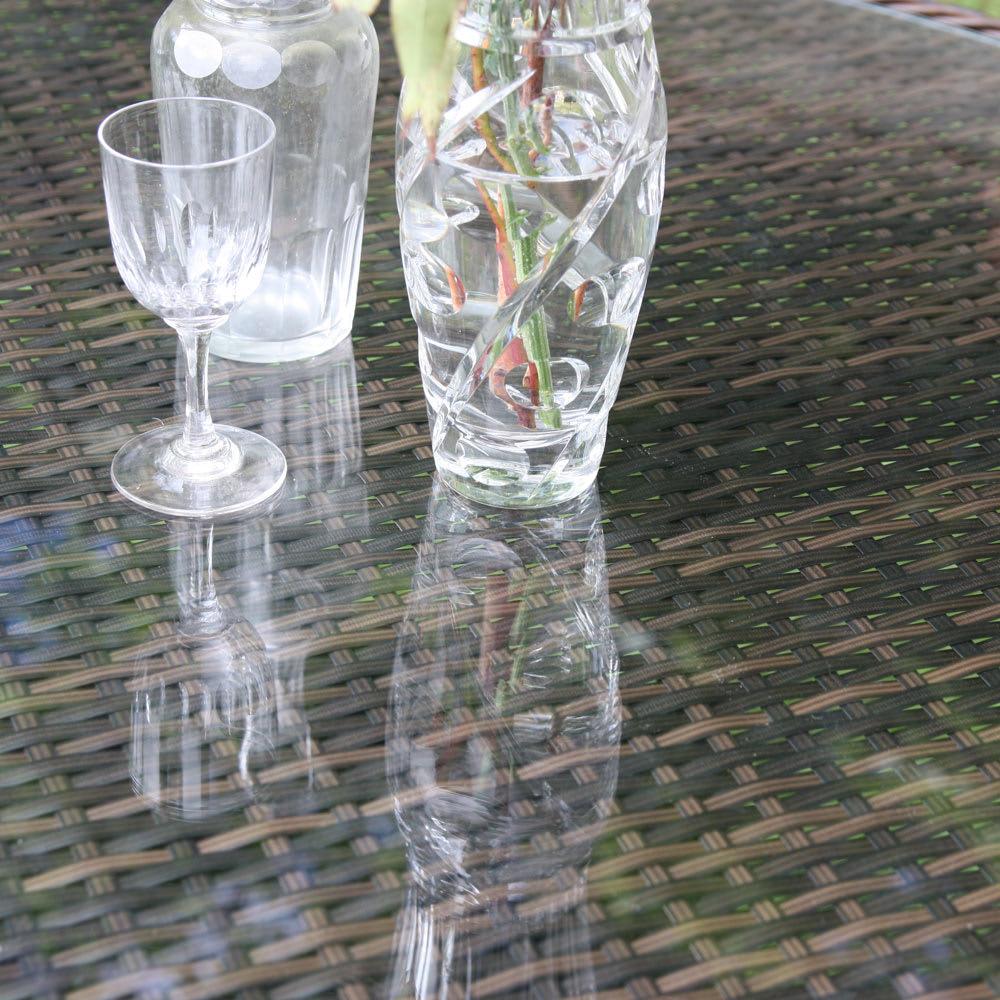 ガラス&ウィッカーシリーズ オーバル 5点セット(オーバルテーブル+チェア4脚)
