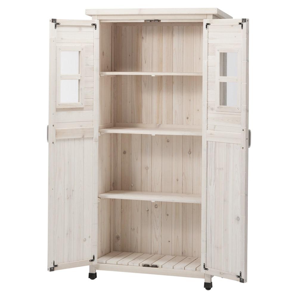 木製薄型収納庫 高さ160cm (ア)ホワイトウォッシュ
