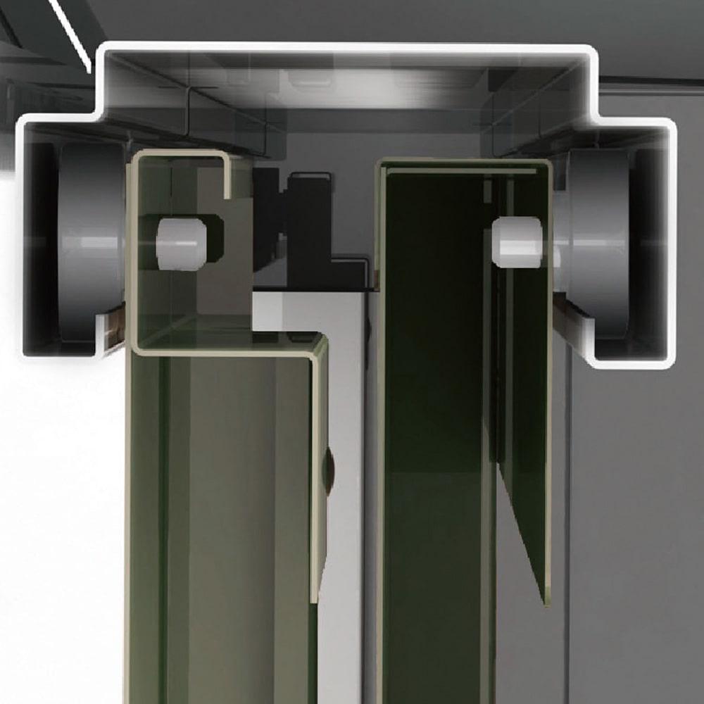 オールネイビー引き戸物置 ライト付き 大型タイプ 開閉スムーズな吊り戸式。