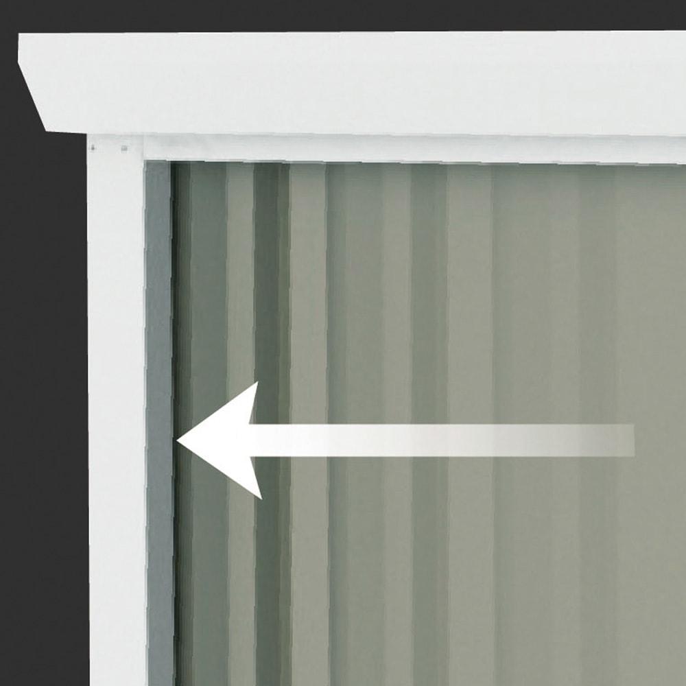 オールネイビー引き戸物置 ライト付き 大型タイプ ピタッと閉まるストッパー機能付き。
