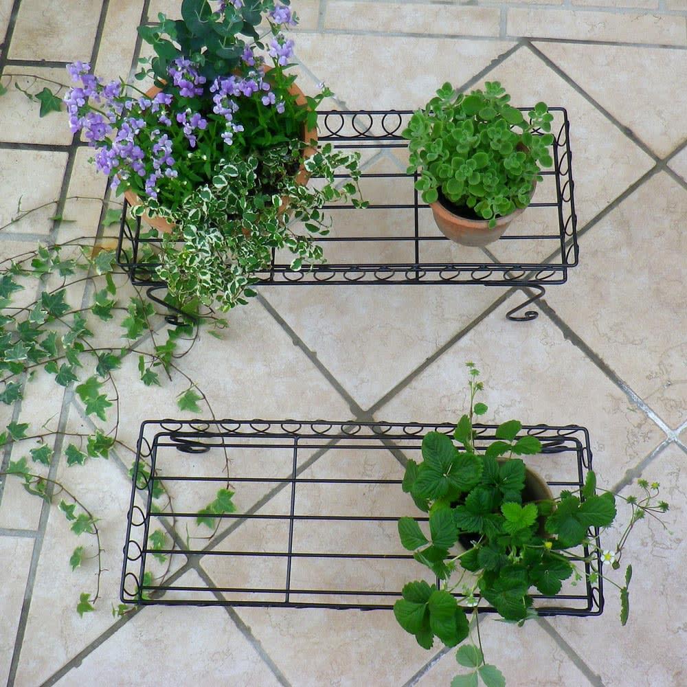 長方形花台ラック 2点セット