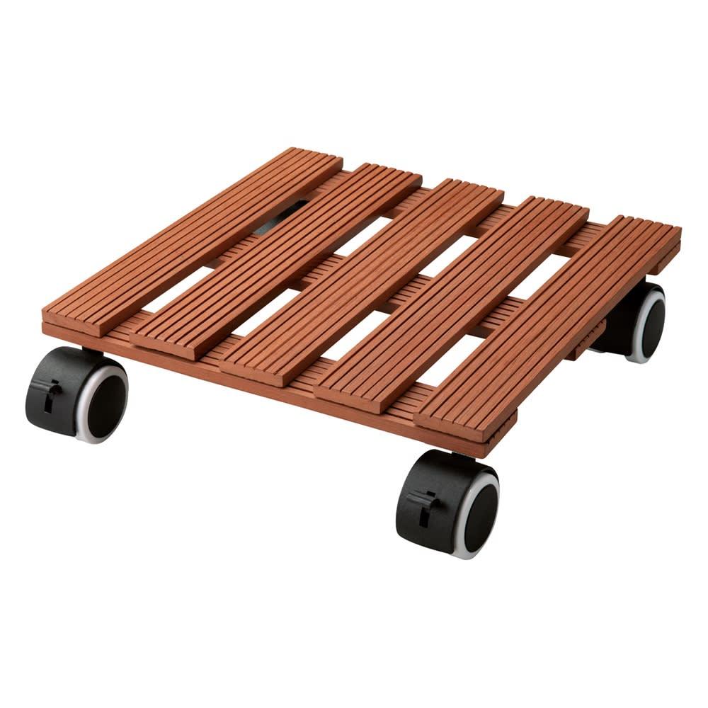 人工木キャスター付き鉢台 同色2個組 (イ)ブラウン