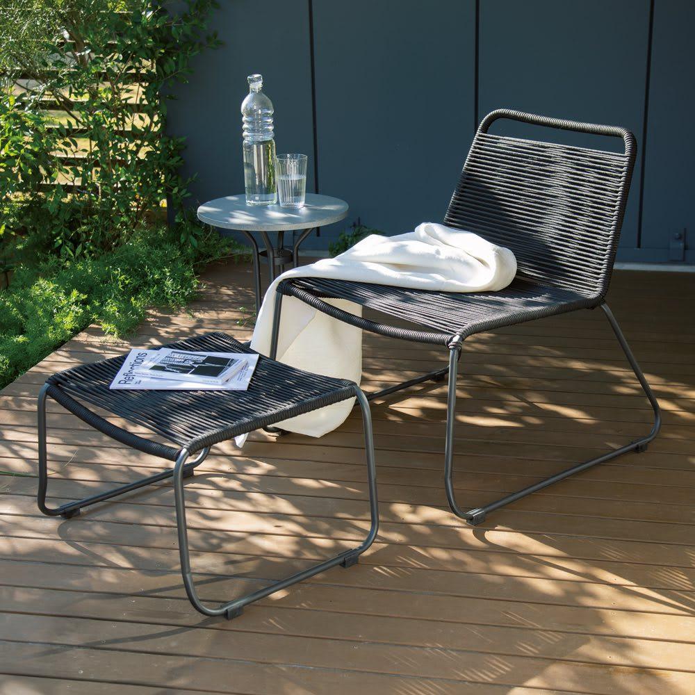 ロープチェアオットマンセット&サイドテーブル 3点セット(ロープチェア&オットマン+セメントサイドテーブル) ガーデンファニチャーセット